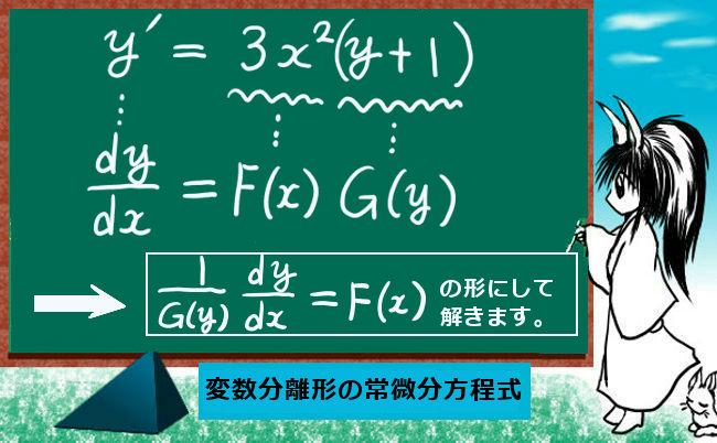 変数分離形の常微分方程式①